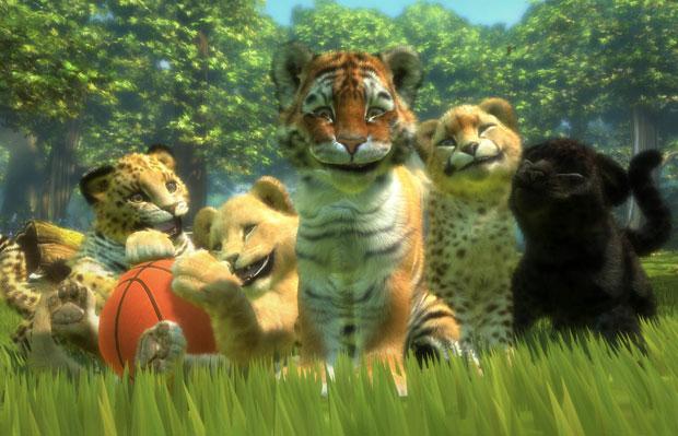Em 'Kinectmals', jogador deverá cuidar de tigres utilizando os braços para fazer carinho e os movimentos do corpo para ensinar truques.