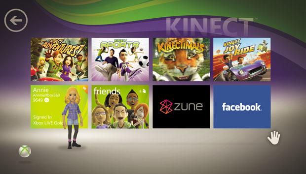 Menus do Xbox 360 podem ser navegados por meio de gestos com o Kinect.