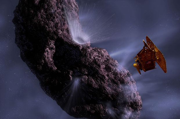 Gravura mostra Deep Impact passando pelo cometa Hartley 2