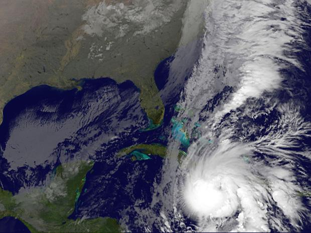 Imagem de satélite divulgada pela Nasa mostra a aproximação de Tomas sobre o Haiti nesta sexta-feira (5).