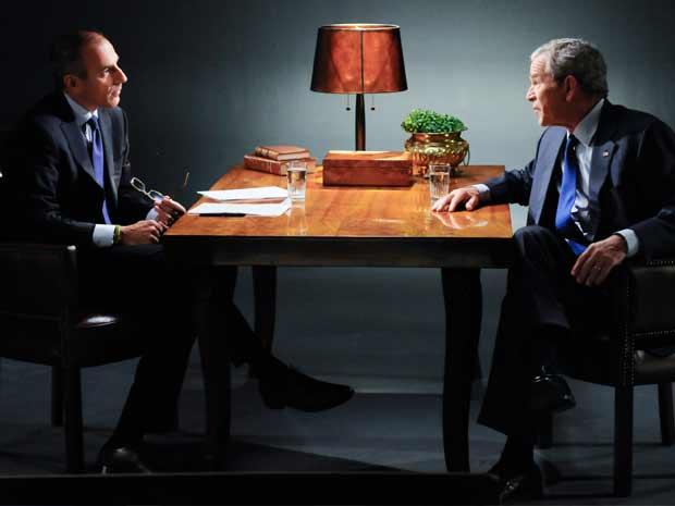 O ex-presidente norte-americano George W. Bush, durante a entrevista com Matt Lauer, no programa 'Today', da rede NBC