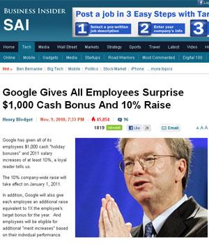 Google dará aumento de 10% aos funcionários