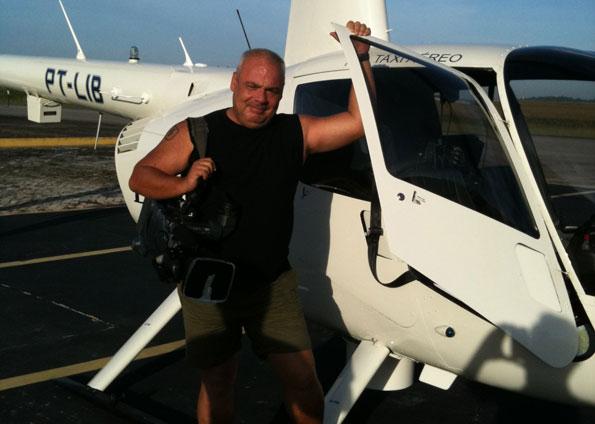 Luiz Quilião no helicóptero