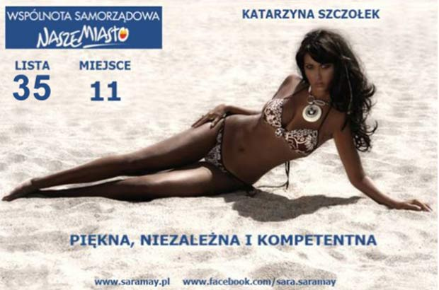 Katarzyna Szczolek aposta em foto sensual para conquistar votos.