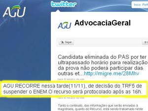 AGU anunciou intenção de protocolar recurso em seu microblog