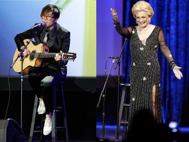 A cantora Maria Gadú e a apresentadora Hebe Camargo participaram na noite desta quinta-feira da entrega do Grammy Latino em Las Vegas.