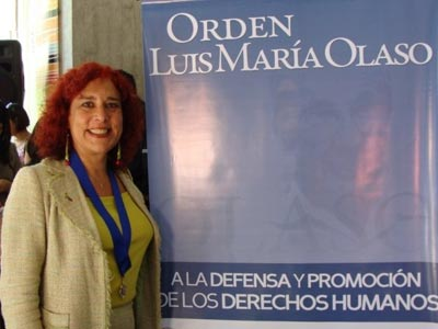 A advogada durante condecoração por seu trabalho em defesa dos direitos humanos