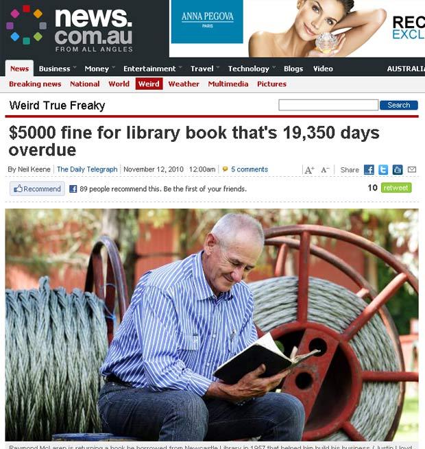 Raymond McLaren entregou o livro com 53 anos de atraso.
