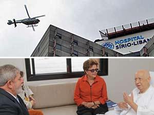 Lula e Dilma chegaram ao hospital de helicóptero (no alto) e conversaram com Alencar, que está internado desde o último dia 25