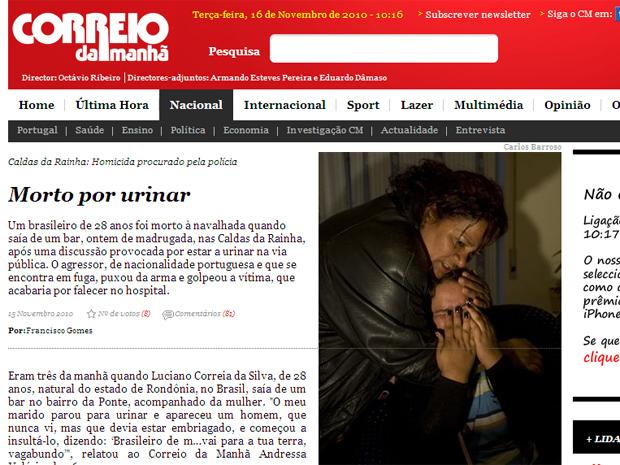 jornal português 'Correio da Manhã' noticiou a morte do brasileiro