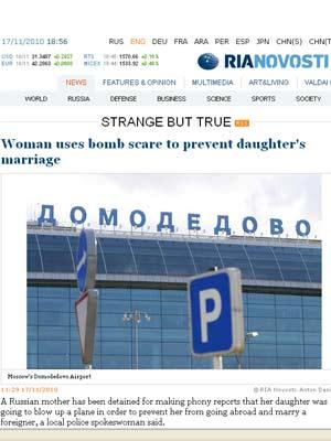 Página da agência russa mostra o aeroporto que recebeu a falsa denúncia