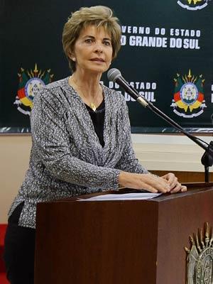 Governadora do Rio Grande do Sul, Yeda Crusius, em evento no auditório do Centro Administrativo Fernando Ferrari (Caff).