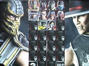 Tela de escolha dos lutadores de Mortal Kombat 9