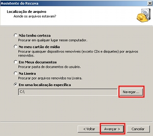 Opções de configurações para o programa tentar recuperar os arquivos.