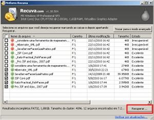 Arquivos localizados que poderão ser recuperados pelo programa.
