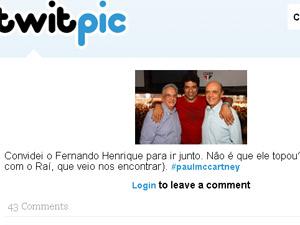 Serra postou no Twitter foto com Fernando Henrique e o jogador Raí na plateia do show do ex-beatle