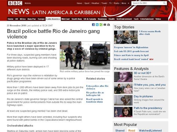 Onda de violência no Rio também foi destacada pelo site da rede inglesa BBC