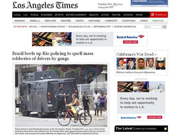 O americano 'Los Angeles Times' reproduziu matéria da agência de notícias Associated Press sobre os ataques no Rio