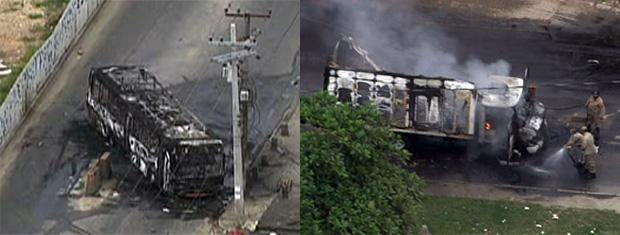 Caminhão e ônibus são incendiados no subúrbio do Rio