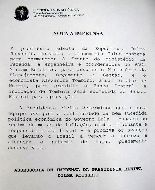 Nota Dilma