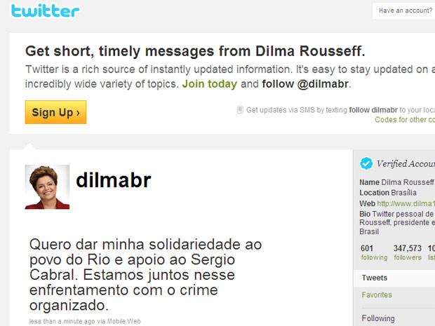A página da presidente eleita no Twitter, com a mensagem sobre a violência no Rio