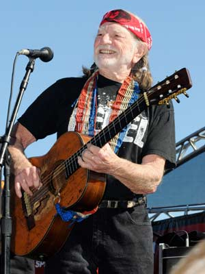 O cantor country Willie Nelson, durante show