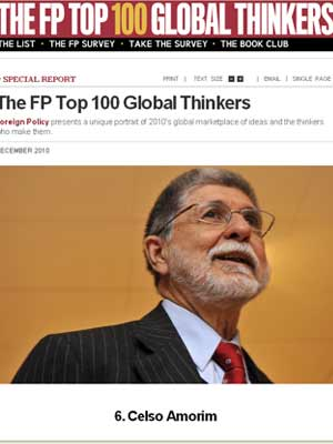 Site da revista 'Foreign Policy' aponta Celso Amorim como 6º 'pensador global' mais importante de 2010