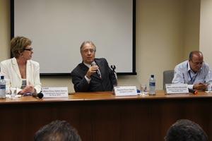 A partir da esq., Maria Vilma Salles Garcia, coordenadora operacional do Censo; Eduardo Pereira Nunes, presidente do IBGE; e Marco Antonio Alexandre, gerente técnico do Censo