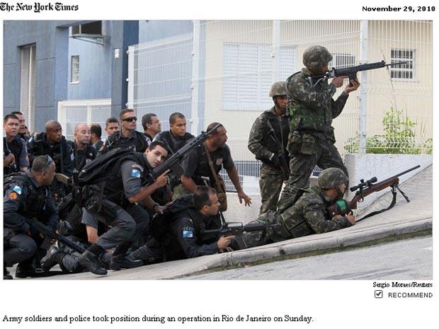 Edição eletrônica do 'New York Times' destaca imagens da ação contra o tráfico no rio de Janeiro