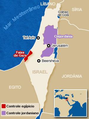 Mapa da região; o Estado Palestino com as fronteiras de 1967 inclui a Faixa de Gaza (em vermelho), a Cisjordânia (em roxo) e Jerusalém Oriental (Foto: Arte G1)