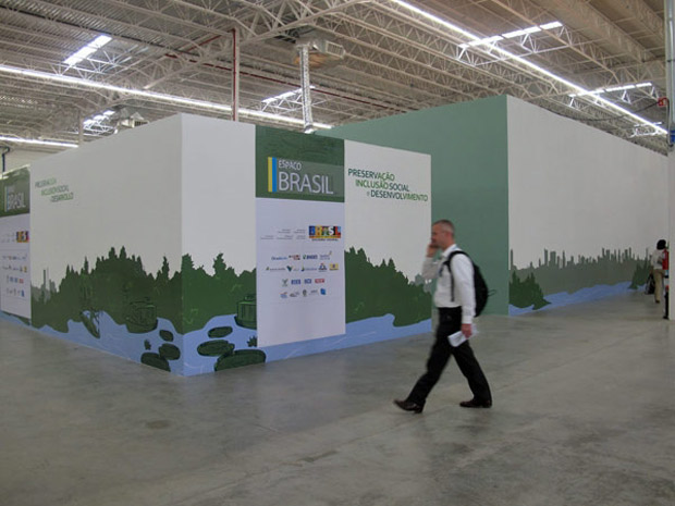 Pavilhão brasileiro fica no centre de eventos Cancunmesse, que tem tido a visitação prejudicada pela logística da COP 16, que colocou as delegações dos países para negociarem num hotel situado a quilômetros dali