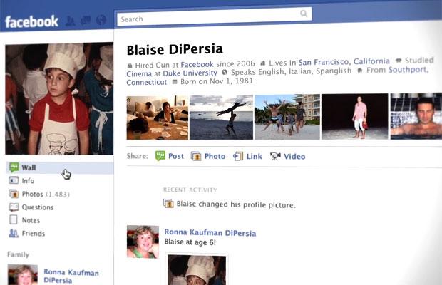 Nova página de perfil do Facebook
