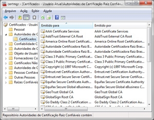 Lista de certificados instalados no sistema. Vírus precisa adicionar servidor do criminoso a esta lista.