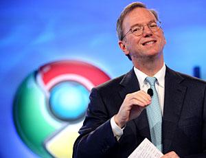 Eric Schmidt, presidente do Google, em evento do Chrome OS.