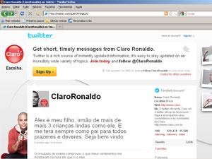 Twitter do jogador Ronaldo anuncia a novidade