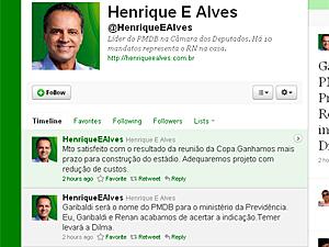 Reprodução da página no Twitter do líder do PMDB na Câmara, Henrique Eduardo Alves (RN)