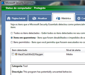 Quarentena no antivírus da Microsoft, Security Essentials. Recurso bloqueia arquivos sem apagá-los, permitindo sua recuperação.