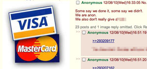 Mensagem no fórum 4chan comemora queda de sites de operadoras de cartão