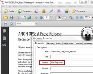 Metadados de nota à imprensa revela nome do redator 'anônimo'.