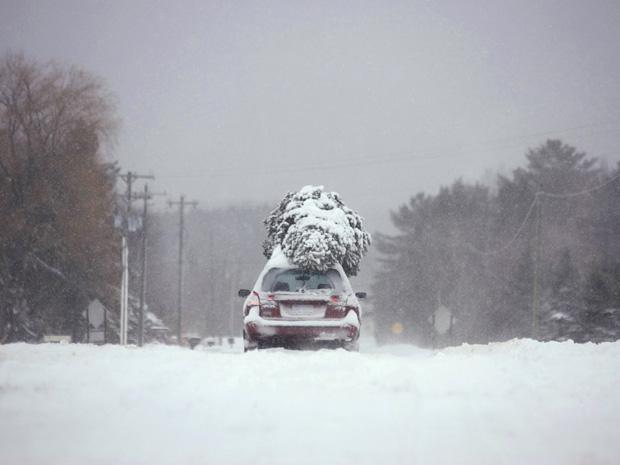 Carro transporta árvore de Natal em meio à neve em estrada de Traverse City, no estado americano de Michigan, nesta segunda-feira (13).