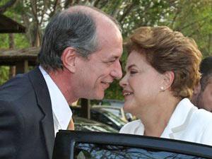 O deputado Ciro Gomes e Dilma Rousseff, em encontro em outubro