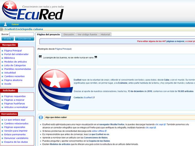 EcuRed, novo site de encicopédia de Cuba, não poupa críticas aos Estados Unidos.