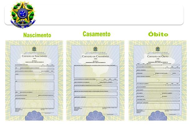Novos modelos de formulários para certidões de nascimento, casamento e óbito, que serão confeccionados pela Casa da Moeda