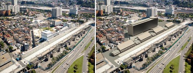 Montagem mostra como o Sambódromo é atualmente e como será até 2012 (Foto: Divulgação)
