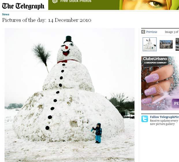 Boneco de neve tem 9,5 metros de altura e 32 metros de diâmetro.