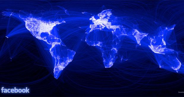 Mapa do Facebook sobre os laços de amizade no mundo