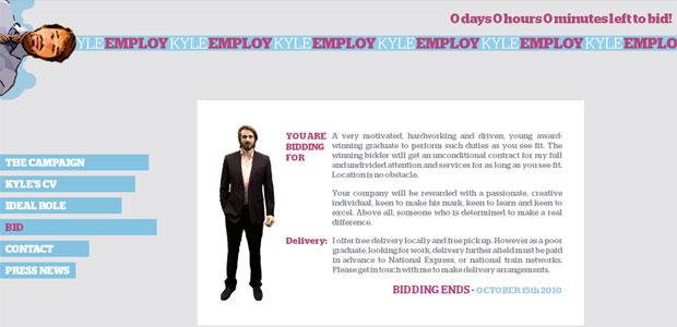 Kyle Clarke cria site para se colocar em leilão on-line