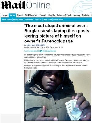Ladrão rouba notebook e posta foto sua na conta do dono no Facebook
