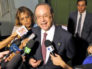 O deputado Paulo Maluf, durante entrevista na Câmara, em abril