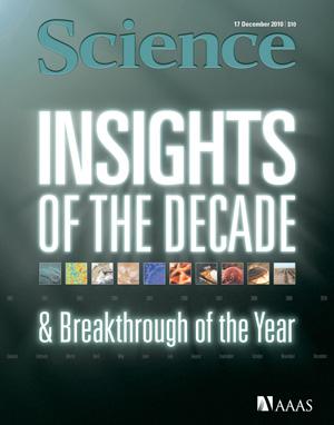 Reprodução da capa da Science com os destaques de 2010 e da década
